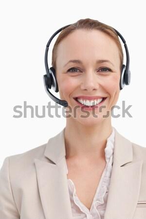 улыбаясь обслуживание клиентов агент глядя камеры белый Сток-фото © wavebreak_media