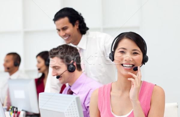 Pessoas de negócios trabalhando call center fone negócio Foto stock © wavebreak_media