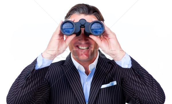 Gelukkig zakenman naar verrekijker witte man Stockfoto © wavebreak_media