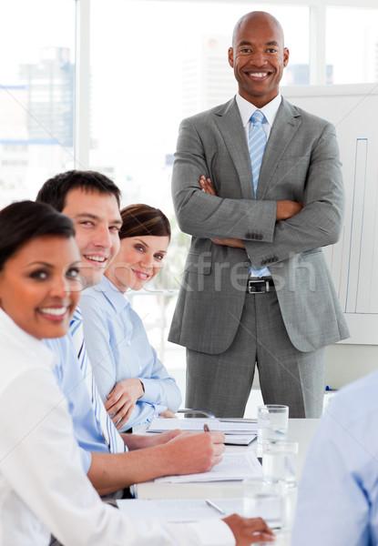 国際ビジネス チーム 笑みを浮かべて カメラ 会議 ビジネス ストックフォト © wavebreak_media