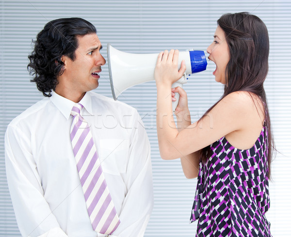 Dühös üzletasszony kiabál megafon kolléga nő Stock fotó © wavebreak_media