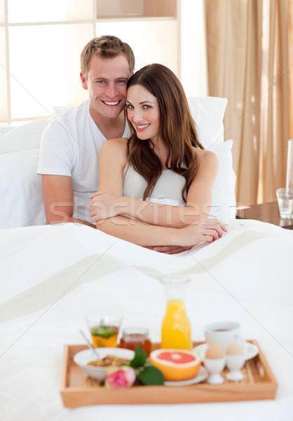 влюбленный пару завтрак кровать домой женщину Сток-фото © wavebreak_media