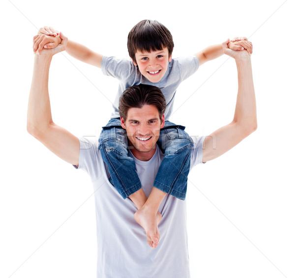 Charyzmatyczny ojciec syn na barana dzieci człowiek Zdjęcia stock © wavebreak_media
