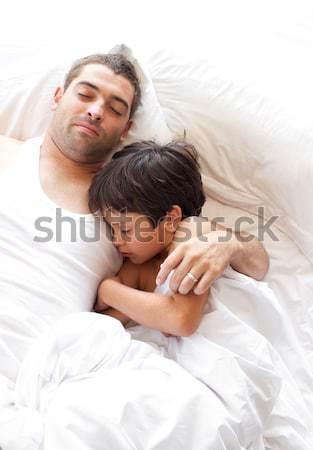 Chłopak sympatia snem bed wraz kobieta Zdjęcia stock © wavebreak_media