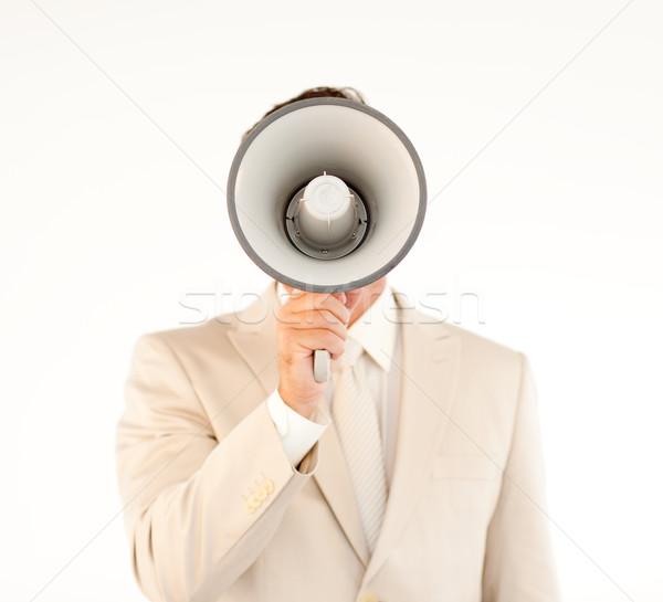 кавказский бизнесмен мегафон старший менеджера человека Сток-фото © wavebreak_media