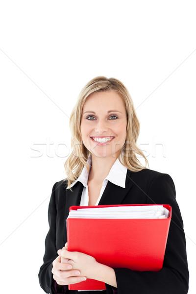 Uśmiechnięta kobieta patrząc kamery czerwony folderze Zdjęcia stock © wavebreak_media