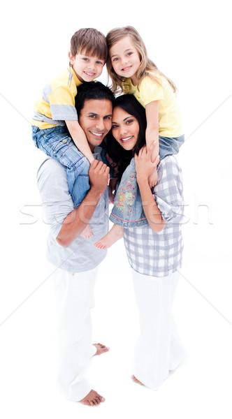 Mosolyog szülők gyerekek háton család férfi Stock fotó © wavebreak_media