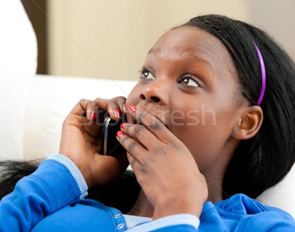 Stock fotó: Tinédzser · beszél · telefon · kanapé · lány · nők