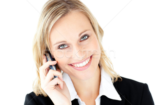 Friendly young businesswoman talking on phone against white background Stock photo © wavebreak_media