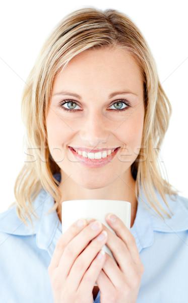 Stockfoto: Portret · charmant · zakenvrouw · beker · witte