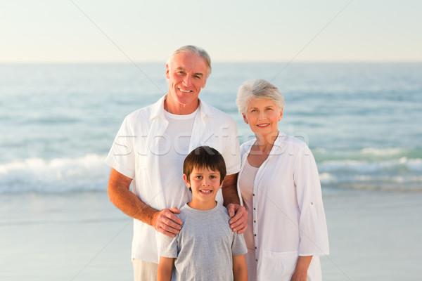 Dedesi torun plaj kadın aile gün batımı Stok fotoğraf © wavebreak_media