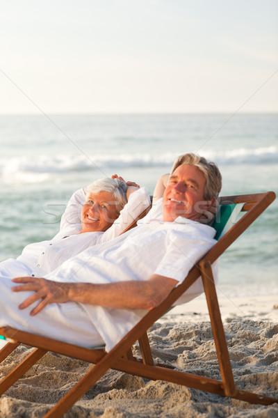 Ouderen paar ontspannen dek stoelen vrouw Stockfoto © wavebreak_media