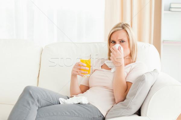 Beteg szőke nő nappali nő kávé szoba Stock fotó © wavebreak_media