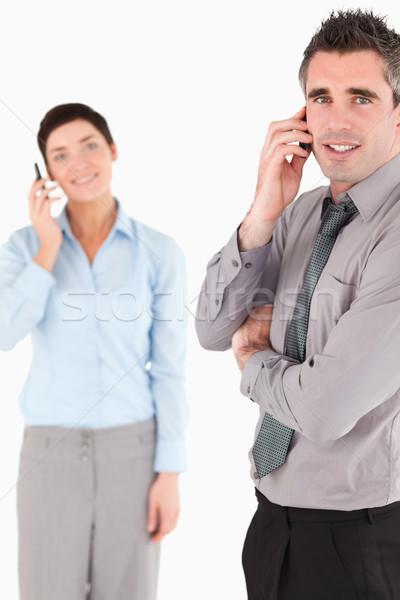 Portret zakenlieden telefoongesprek witte business Stockfoto © wavebreak_media
