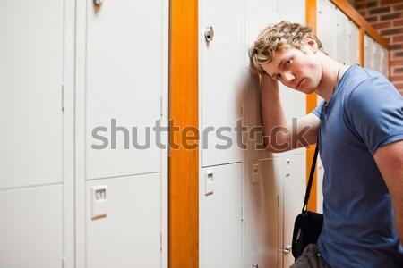 Retrato estudiante armario corredor hombre Foto stock © wavebreak_media