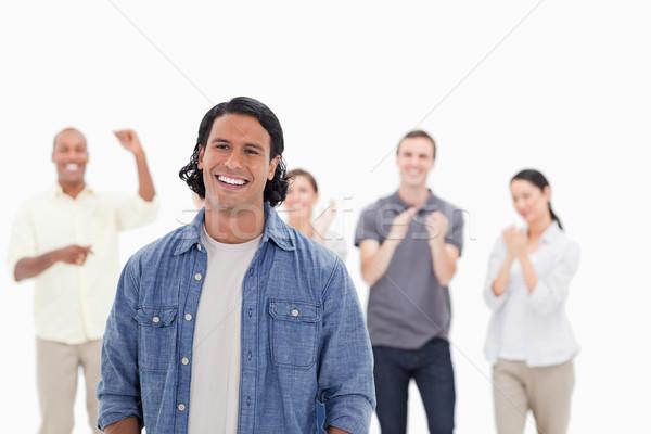 クローズアップ 男 笑い 人 拍手 笑顔 ストックフォト © wavebreak_media