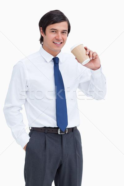 Glimlachend papier beker witte koffie Stockfoto © wavebreak_media