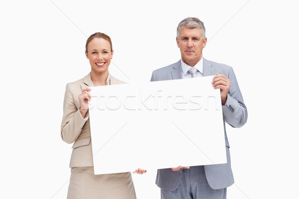 деловые люди плакат белый улыбка бизнесмен Сток-фото © wavebreak_media