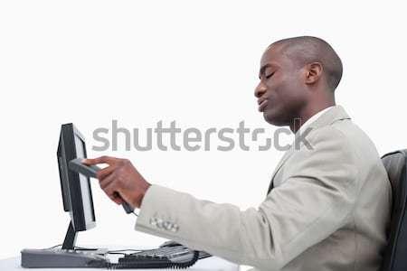 Сток-фото: вид · сбоку · сердиться · бизнесмен · подвесной · вверх · белый
