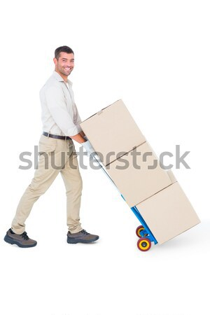 Retrato moço pacote caixas branco Foto stock © wavebreak_media
