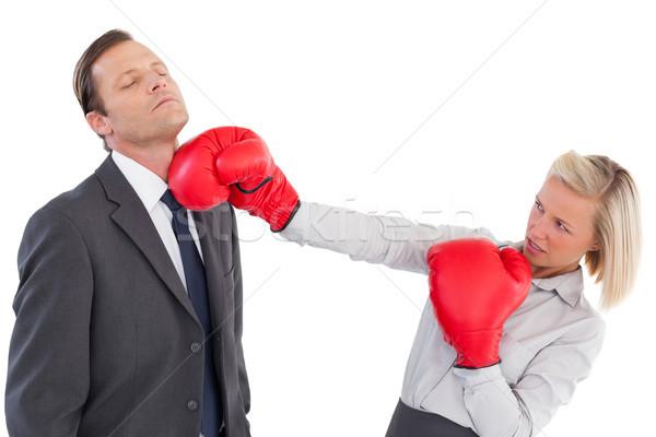 Femme d'affaires collègue gants de boxe blanche costume équipe Photo stock © wavebreak_media