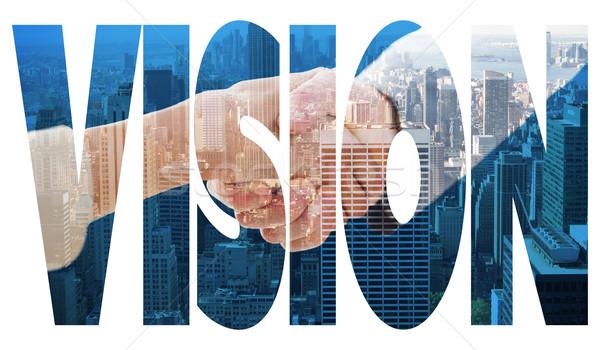 Előrelátás városkép szó közelkép kézfogás üzleti megbeszélés Stock fotó © wavebreak_media