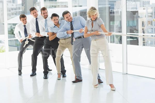 Grup iş adamları halat ofis tam uzunlukta Stok fotoğraf © wavebreak_media