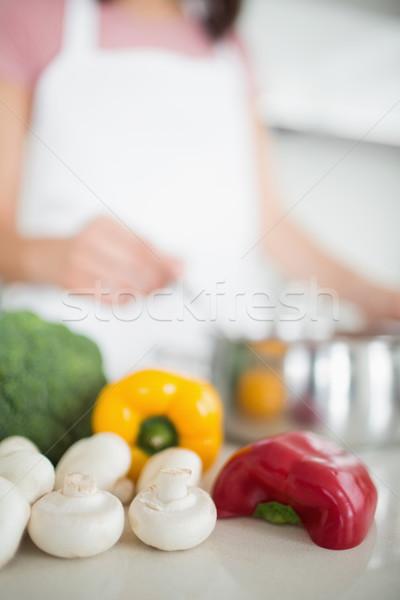 Warzyw zamazany kobieta kuchnia domu Zdjęcia stock © wavebreak_media