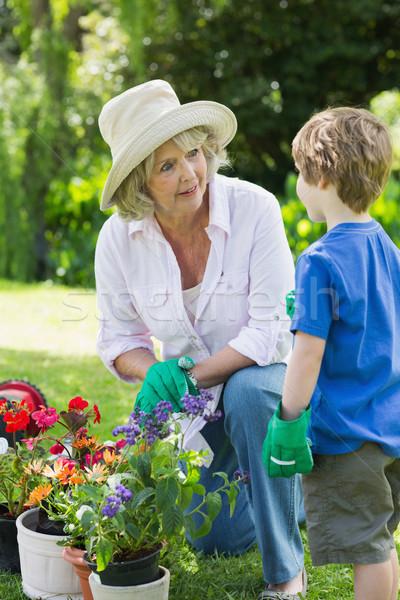 Avó neto comprometido jardinagem ver família Foto stock © wavebreak_media