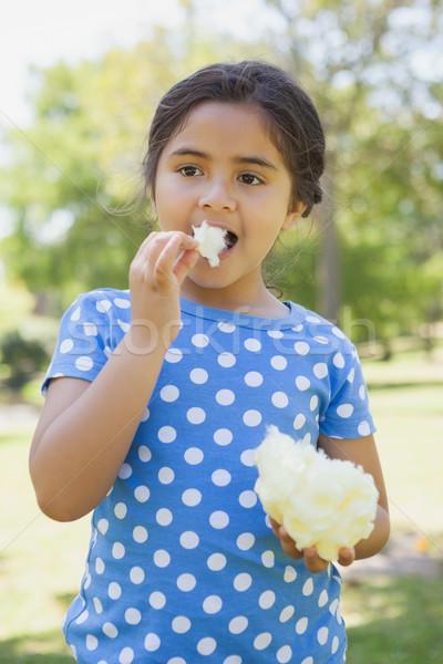 Hermosa niña comer algodón dulces parque retrato Foto stock © wavebreak_media