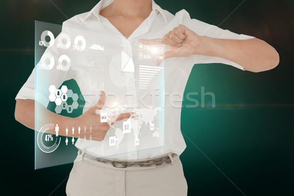 Mujer de negocios interfaz compuesto digital femenino tecnología Foto stock © wavebreak_media