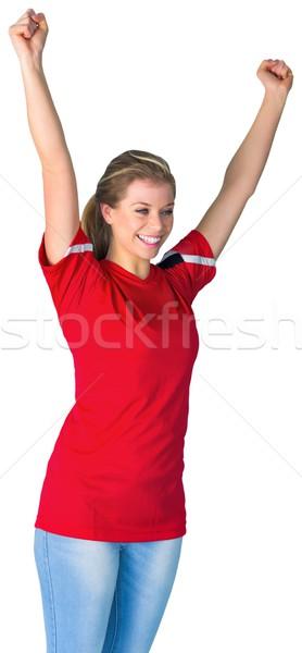 éljenez futball ventillátor piros fehér futball Stock fotó © wavebreak_media