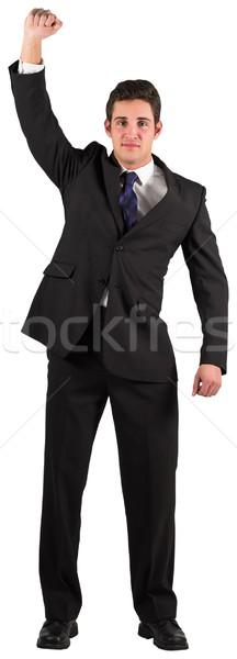 Zakenman juichen camera witte mannelijke carriere Stockfoto © wavebreak_media