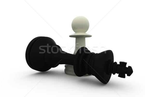Blanco peón negro rey ajedrez victoria Foto stock © wavebreak_media