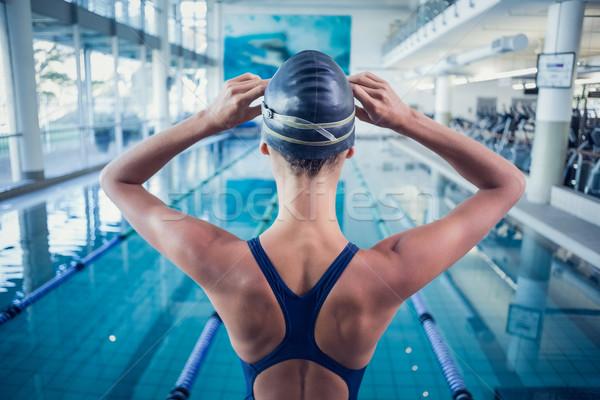 Stockfoto: Mooie · zwemmer · permanente · zwembad · recreatie · centrum