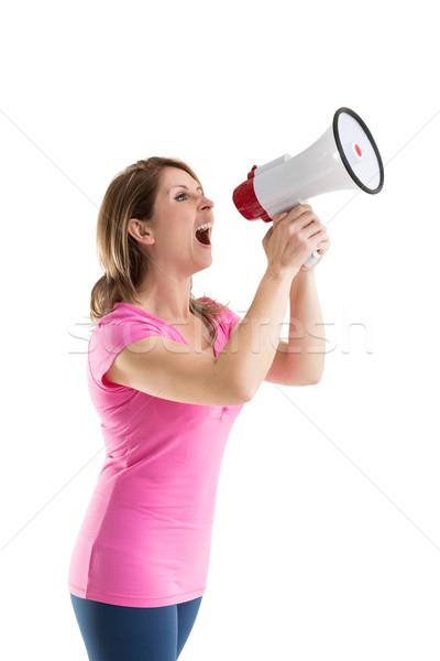 Fiatal nő kiált beszél női kaukázusi fehér háttér Stock fotó © wavebreak_media