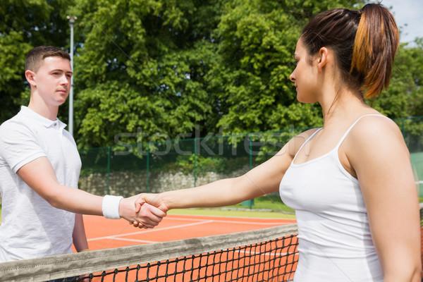 Tennis handen schudden wedstrijd sport fitness Stockfoto © wavebreak_media