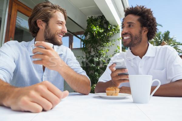 Stockfoto: Twee · vrienden · genieten · koffie · samen · buiten