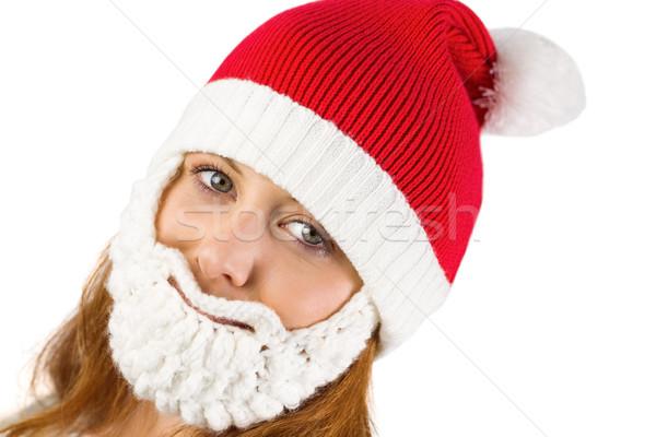Stok fotoğraf: Güzel · şapka · sakal · beyaz
