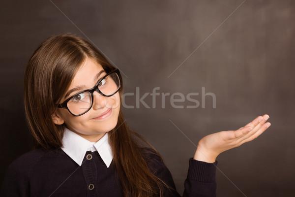 Aranyos mosolyog kamera fekete kéz iskola Stock fotó © wavebreak_media