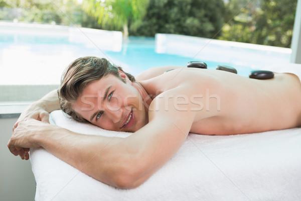 Stok fotoğraf: Yakışıklı · adam · taş · masaj · spa · yandan · görünüş