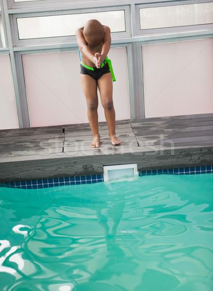 мало мальчика готовый погружение бассейна отдыха Сток-фото © wavebreak_media