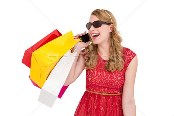かなり ブロンド 話し 電話 ショッピングバッグ ストックフォト © wavebreak_media