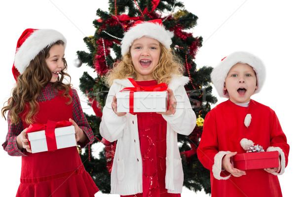 Pequeño hermanos regalos blanco Foto stock © wavebreak_media