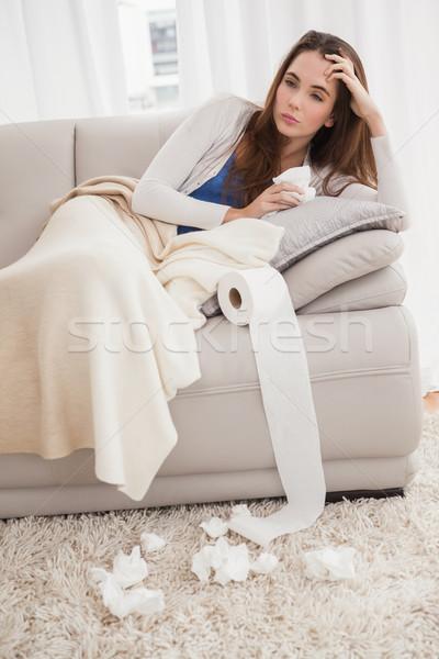 Beteg barna hajú kanapé otthon nappali egészség Stock fotó © wavebreak_media
