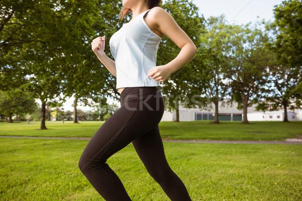 Gezonde vrouw jogging park zijaanzicht mooie Stockfoto © wavebreak_media