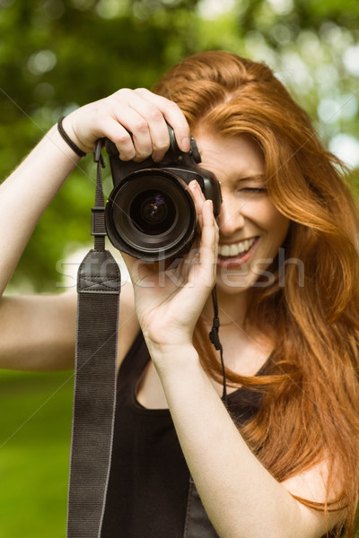 Belle Homme photographe parc portrait heureux Photo stock © wavebreak_media