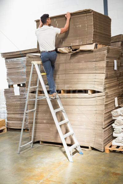 Warehouse worker loading up pallet Stock photo © wavebreak_media