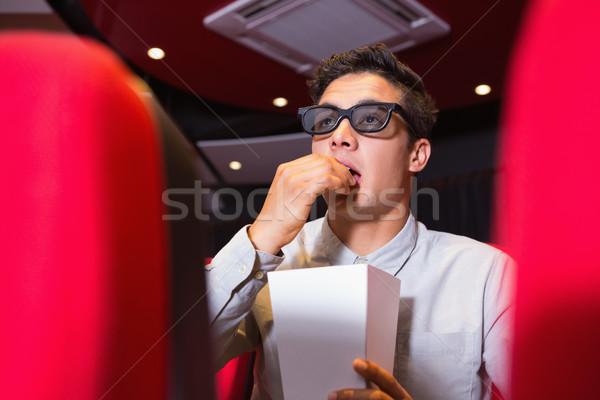 Fiatalember néz 3D film mozi film Stock fotó © wavebreak_media