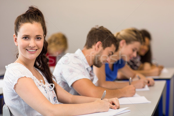 Diákok osztályterem ír jegyzetek lány férfi Stock fotó © wavebreak_media